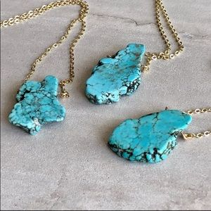 Jewelry - Raw Turquoise Blue Howlite Slice 14K Gold Necklace